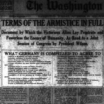 Armistice signed ending World War I - 1918