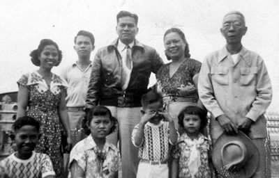 President Magsaysay and the San Diego Clan in Baguio City.  Clockwise from upper left:  Concordia DL San Diego, Nicanor P San Diego, Ramon Magsaysay, Eugenia P San Diego, Apolonio DLC Porcincula, Trinidad P San Diego, Eugenio P San Diego, Felicisima P San Diego and Luis P San Diego.