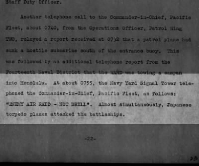 First Notification of the Japanese Air Raid on Pearl Harbor