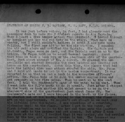 First Hand Account of the Attack on Pearl Harbor
