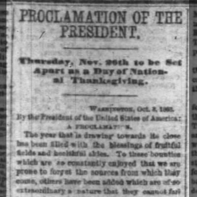 Proclamation of the President - Thanksgiving 1863